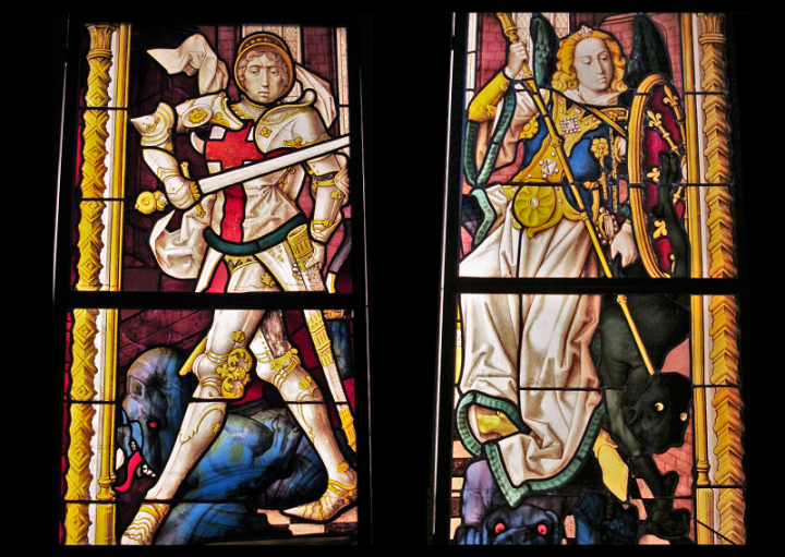 St. George and St. Michael stained glass windows